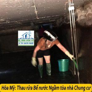 Thau rửa bể nước ngầm chung cư