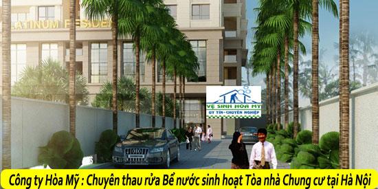 Thau rửa bể nước sinh hoạt tòa nhà chung cư