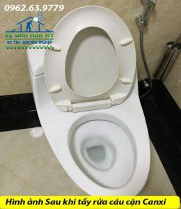 Tẩy rửa cáu cặn canxi trên thiết bị vệ sinh
