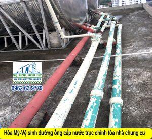 Thau rửa đường ống nước sinh hoạt trục chính tòa nhà chung cư