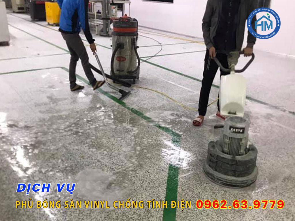 Dịch vụ phủ bóng sàn vinyl chống tĩnh điện