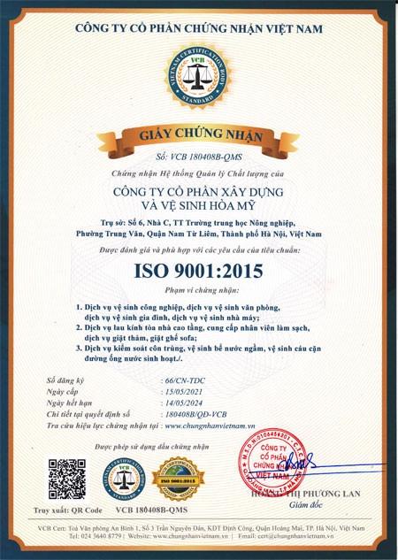 Iso 9001-2015 công ty vệ sinh Hòa Mỹ